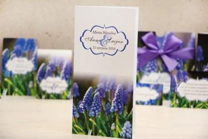 Menu weselne, stół weselny - Felicja nr 4 - Niebieskie szafirki - kwiatowe dodatki ślubne