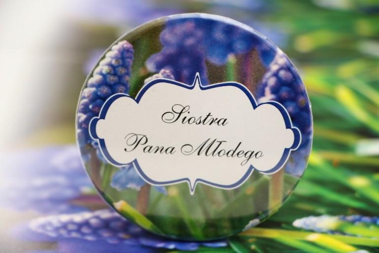 Przypinki dla Gości weselnych, dodatki na wesele, ślub, przypinka - Felicja nr 4 - Wiosenne szafirki