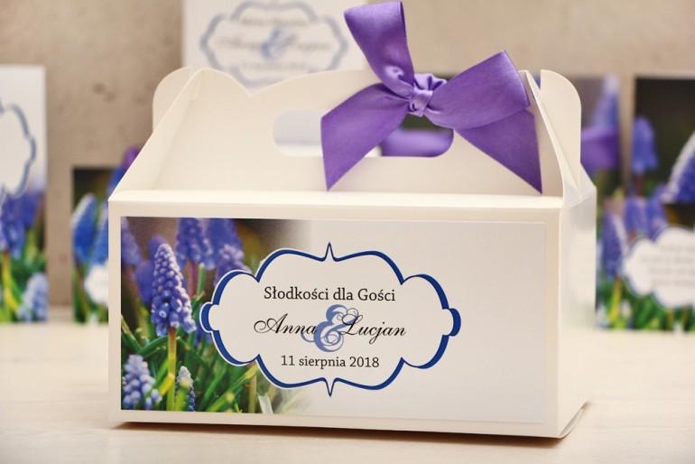 Prostokątne pudełko na ciasto, tort weselny, ślub - Felicja nr 4 - Szafirki - kwiatowe dodatki ślubne