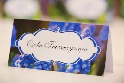 Winietki na stół weselny, ślub - Felicja nr 4 - Szafirki - kwiatowe dodatki ślubne