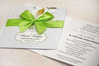 Zaproszenie ślubne, zaproszenia na ślub kwiatowe z kokardą - Felicja nr 5 - Delikatne białe kalie