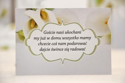 Bilecik prezenty ślubne wesele - Felicja nr 5 - Białe kalie - zaproszenia na ślub