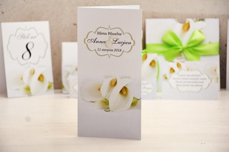 Menu weselne, stół weselny - Felicja nr 5 - Białe kalie - kwiatowe dodatki ślubne