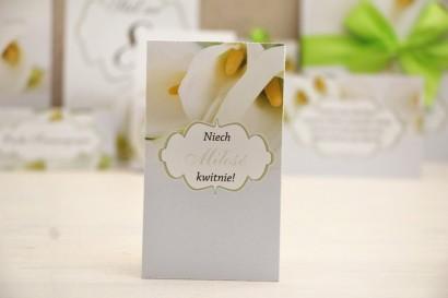 Podziękowania dla Gości weselnych - nasiona Niezapominajki - Felicja nr 5 - Białe kalie - kwiatowe dodatki ślubne