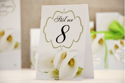 Numery stolików, stół weselny, ślub - Felicja nr 5 - Delikatne białe kalie