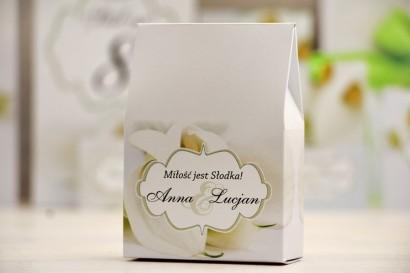 Pudełeczko stojące na cukierki, podziękowania dla Gości weselnych - Felicja nr 5 - Białe kalie - dodatki ślubne
