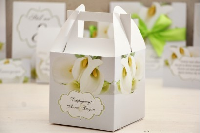 Pudełko na ciasto kwadratowe, tort weselny - Felicja nr 5 - Białe kalie - kwiatowe dodatki ślubne