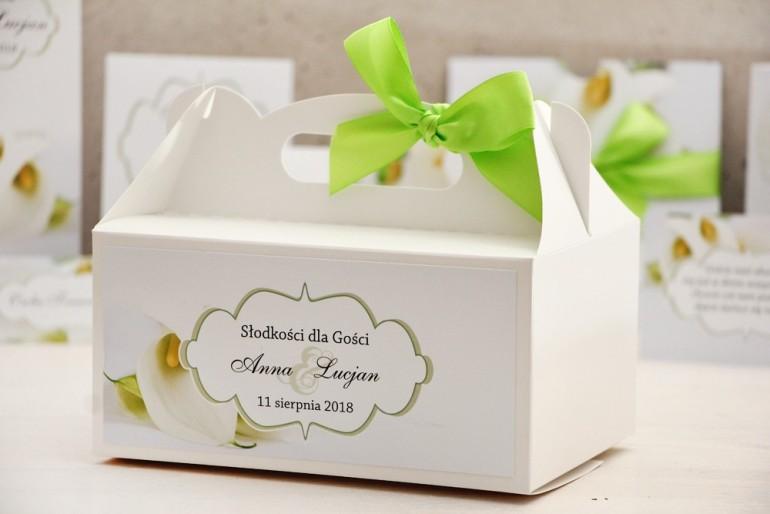 Prostokątne pudełko na ciasto, tort weselny, ślub - Felicja nr 5 - Białe kalie - kwiatowe dodatki ślubne