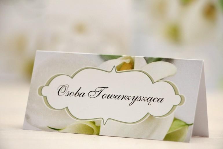 Winietki na stół weselny, ślub - Felicja nr 5 - Białe kalie - kwiatowe dodatki ślubne