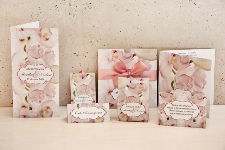 Zaproszenie ślubne z dodatkami - Felicja nr 6 - Jasnoróżowe orchidee