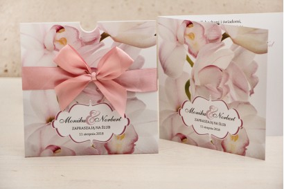 Zaproszenie ślubne, zaproszenia na ślub kwiatowe z kokardą - Felicja nr 4 - Jasnoróżowe orchidee