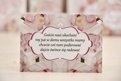 Bilecik prezenty ślubne wesele - Felicja nr 6 - Jasnoróżowe orchidee - zaproszenia na ślub