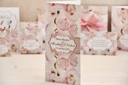 Menu weselne, stół weselny - Felicja nr 6 - Różowe orchidee - kwiatowe dodatki ślubne
