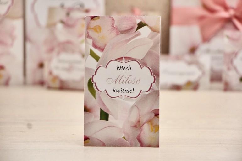 Podziękowania dla Gości weselnych - nasiona Niezapominajki - Felicja nr 6 - Różowe orchidee - kwiatowe dodatki ślubne