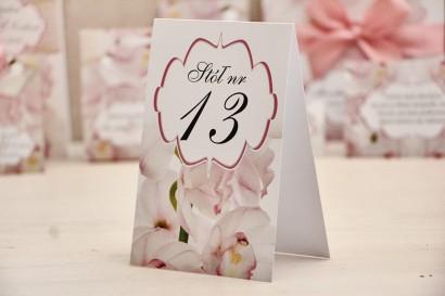 Numery stolików, stół weselny, ślub - Felicja nr 6 - Jasnoróżowe orchidee - dodatki ślubne