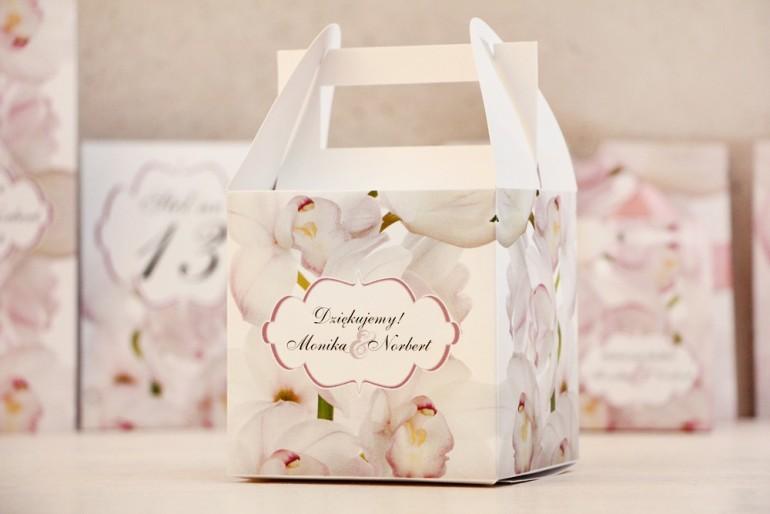 Pudełko na ciasto kwadratowe, tort weselny - Felicja nr 6 - Różowe orchidee - kwiatowe dodatki ślubne