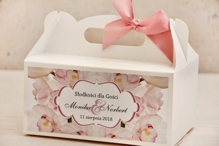 Prostokątne pudełko na ciasto, tort weselny, ślub - Felicja nr 6 - Różowe orchidee - kwiatowe dodatki ślubne