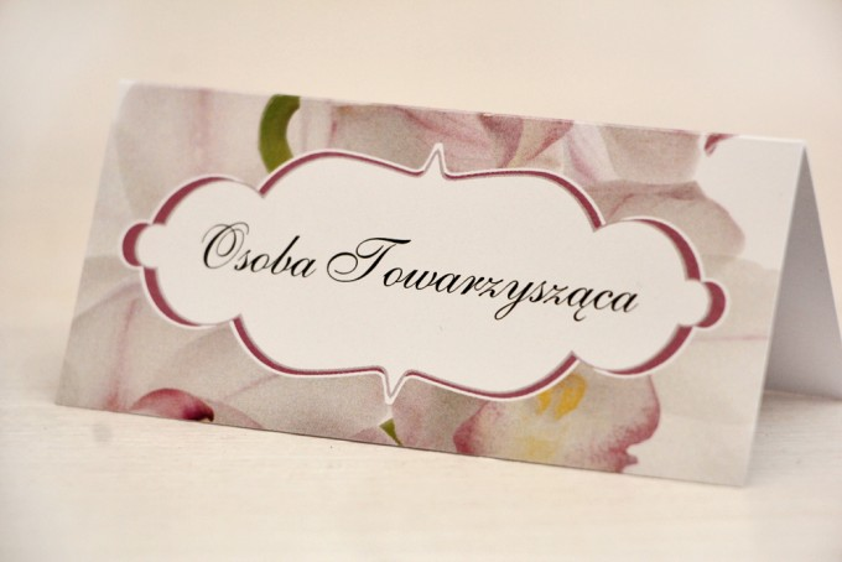 Winietki na stół weselny, ślub - Felicja nr 6 - Różowe orchidee - kwiatowe dodatki ślubne