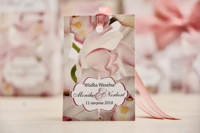 Zawieszka na butelkę, wódka weselna, ślub - Felicja nr 6 - Różowe orchidee