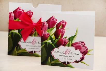 Zaproszenie ślubne, zaproszenia na ślub kwiatowe z kokardą - Felicja nr 7 - Wiosenne różowe tulipany
