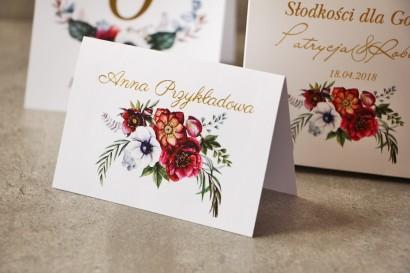 Winietki na stół weselny, ślub - Cykade nr 7 ze złoceniem - Kwiaty w żywych barwach bordo i bieli