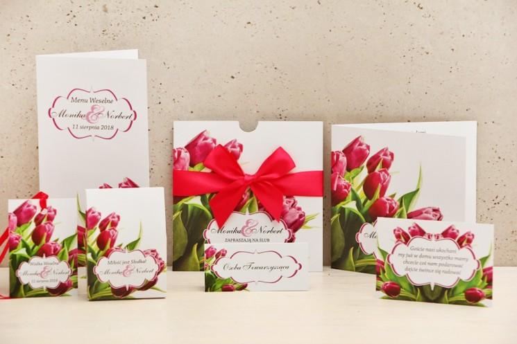 Zaproszenie ślubne z dodatkami - Felicja nr 7 - Wiosenne różowe tulipany