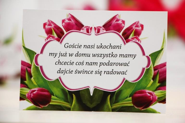 Bilecik prezenty ślubne wesele - Felicja nr 7 - Wiosenne różowe tulipany - zaproszenia na ślub