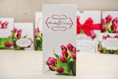 Menu weselne, stół weselny - Felicja nr 7 - Różowe tulipany - kwiatowe dodatki ślubne