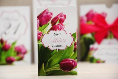 Podziękowania dla Gości weselnych - nasiona Niezapominajki - Felicja nr 7 - Różowe tulipany - kwiatowe dodatki ślubne
