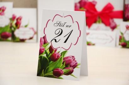 Numery stolików, stół weselny, ślub - Felicja nr 7 - Różowe wiosenne tulipany - dodatki ślubne
