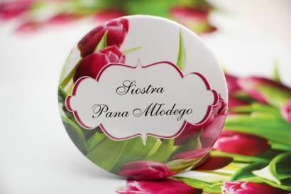 Przypinki dla Gości weselnych, dodatki na wesele, ślub, przypinka - Felicja nr 7 - Różowe wiosenne tulipany