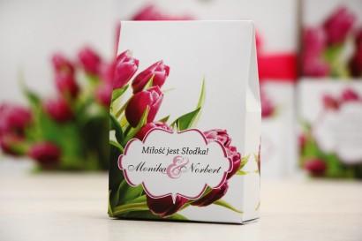Pudełeczko stojące na cukierki, podziękowania dla Gości weselnych - Felicja nr 7 - Różowe tulipany - dodatki ślubne