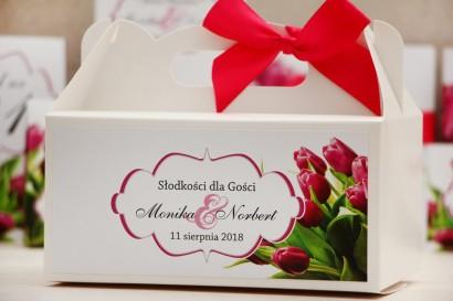 Prostokątne pudełko na ciasto, tort weselny, ślub - Felicja nr 7 - Różowe tulipany - kwiatowe dodatki ślubne