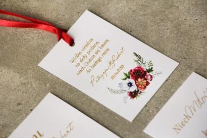 Zawieszka na butelkę, Wódka weselna, ślub - Cykade nr 7 ze złoceniem - Kwiaty w chłodnych barwach bordo i bieli