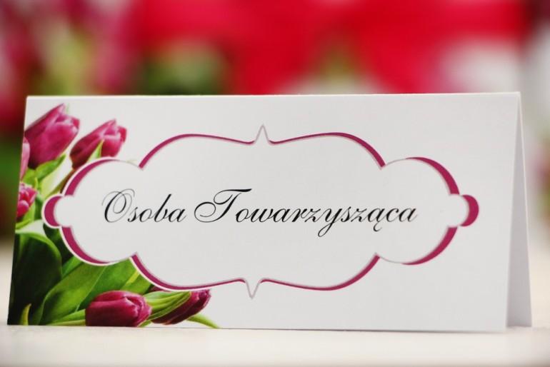 Winietki na stół weselny, ślub - Felicja nr 7 - Różowe tulipany - kwiatowe dodatki ślubne