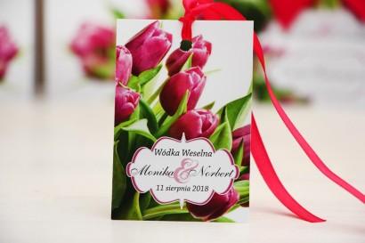 Zawieszka na butelkę, wódka weselna, ślub - Felicja nr 7 - Różowe tulipany