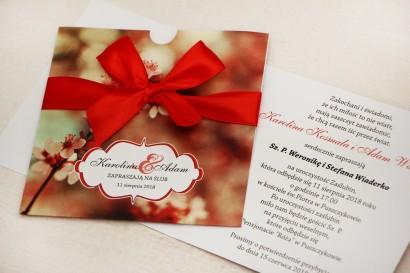 Zaproszenie ślubne, zaproszenia na ślub kwiatowe z kokardą - Felicja nr 8 - W ciepłych barwach czerwieni i brązu