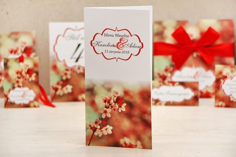 Menu weselne, stół weselny - Felicja nr 8 - Kwiaty wiśni - kwiatowe dodatki ślubne