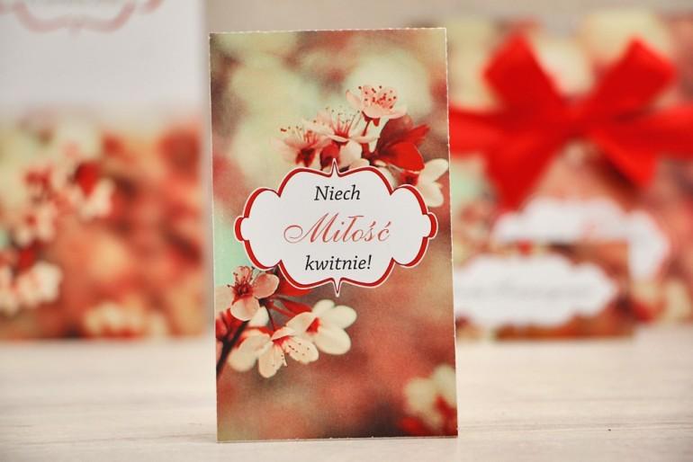 Podziękowania dla Gości weselnych - nasiona Niezapominajki - Felicja nr 8 - kwiaty wiśni - kwiatowe dodatki ślubne