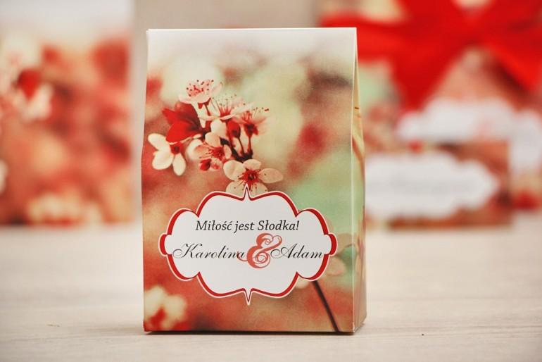 Pudełeczko stojące na cukierki, podziękowania dla Gości weselnych - Felicja nr 8 - Kwiaty wiśni  - dodatki ślubne