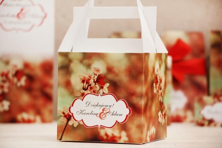 Pudełko na ciasto kwadratowe, tort weselny - Felicja nr 8 - Kwiaty wiśni - kwiatowe dodatki ślubne
