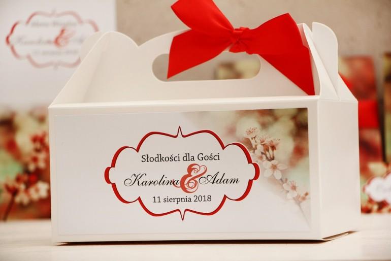 Prostokątne pudełko na ciasto, tort weselny, ślub - Felicja nr 8 - Kwiaty wiśni - kwiatowe dodatki ślubne