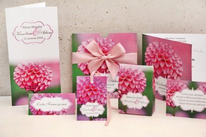 Zaproszenie ślubne z dodatkami - Felicja nr 9 - Różowe dalie