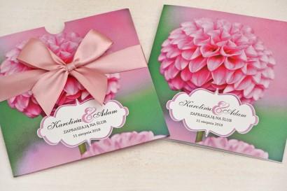 Zaproszenie ślubne, zaproszenia na ślub kwiatowe z kokardą - Felicja nr 9 - Różowe dalie