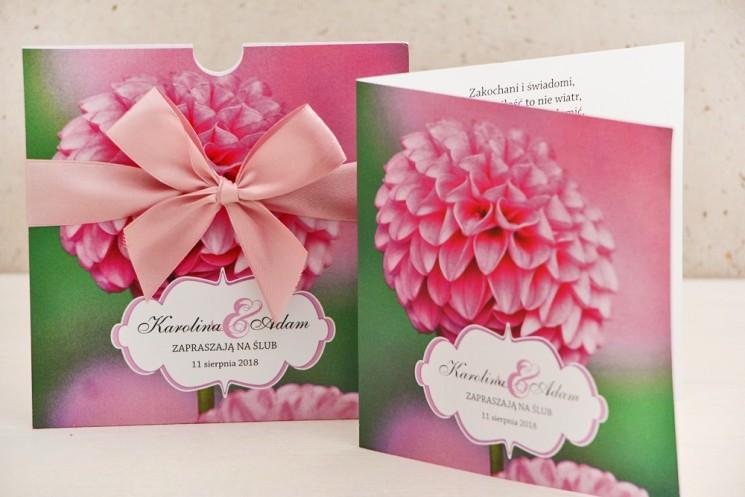 kwiatowe zaproszenia ślubne - dalia