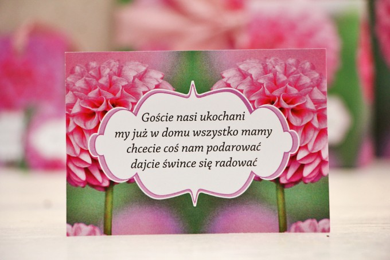 Bilecik prezenty ślubne wesele - Felicja nr 9 - Różowe dalie - zaproszenia na ślub