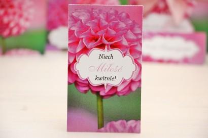 Podziękowania dla Gości weselnych - nasiona Niezapominajki - Felicja nr 9 - Różowe dalie - kwiatowe dodatki ślubne