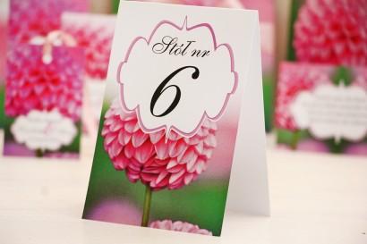 Numery stolików, stół weselny, ślub - Felicja nr 9 - Różowa dalia - dodatki ślubne