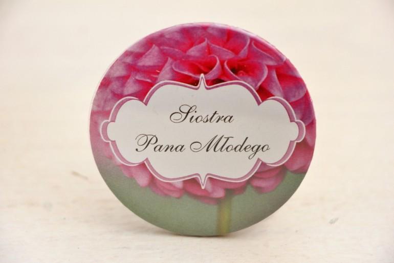 Przypinki dla Gości weselnych, dodatki na wesele, ślub, przypinka - Felicja nr 9 - Różowa dalia