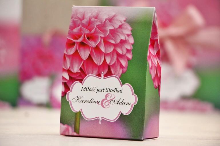 Pudełeczko stojące na cukierki, podziękowania dla Gości weselnych - Felicja nr 9 - Różowa dalia